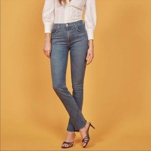 NWT reformation Riley split raw hem jeans